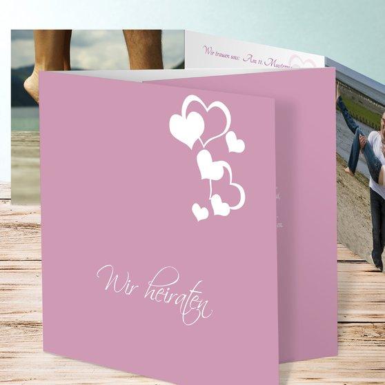 Von Herz zu Herz - Doppelklappkarte 145x145 - Zartes Rosé