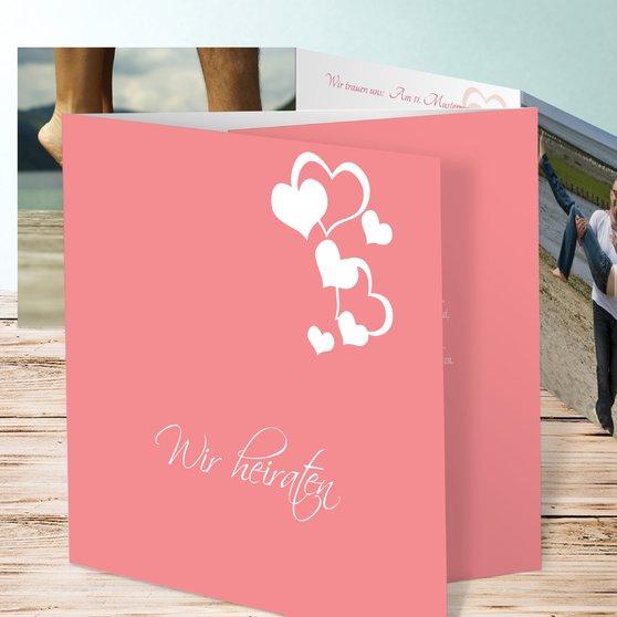 Von Herz zu Herz - Doppelklappkarte 145x145 - Zartes Rosa