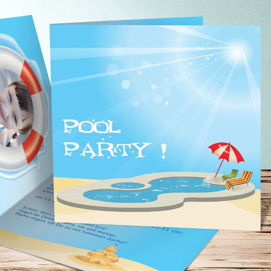 einladungen f r kindergeburtstag poolparty detail