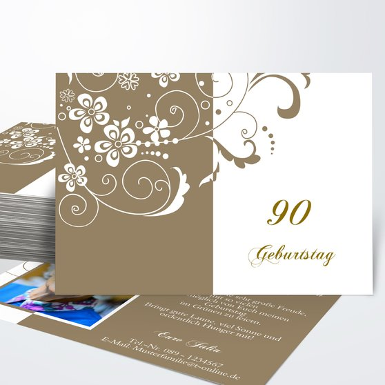 Geburtstagseinladungen - Blütenkarte mit Foto 90