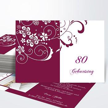 Geburtstagseinladungen - Blütenkarte mit Foto 80