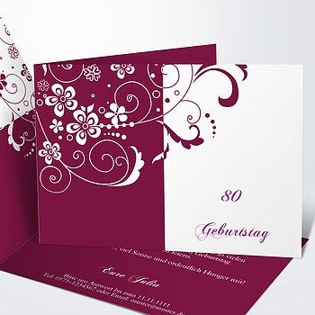 Geburtstagseinladungen   Blütenkarte 80