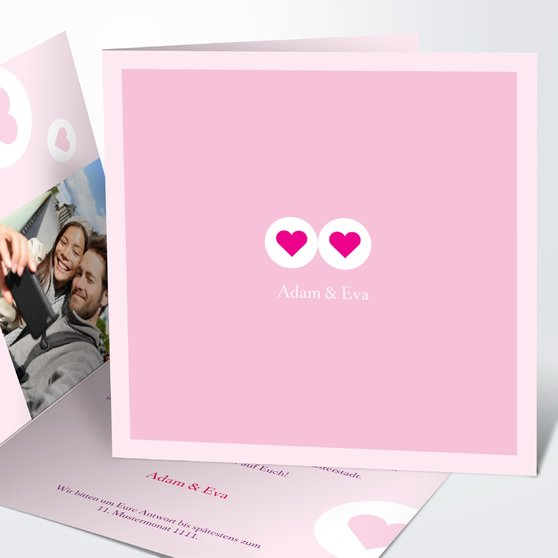 Herzmurmeln - Quadratische Klappkarte 145x145 - Rosen Pink