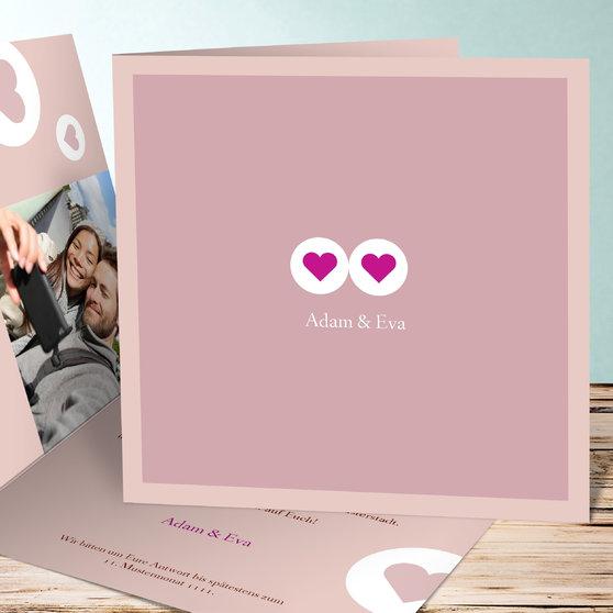 Herzmurmeln - Quadratische Klappkarte 145x145 - Rosa
