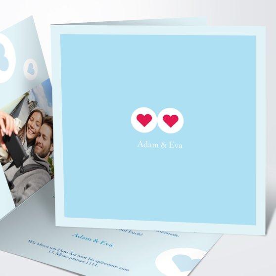 Herzmurmeln - Quadratische Klappkarte 145x145 - Helles Himmelsblau