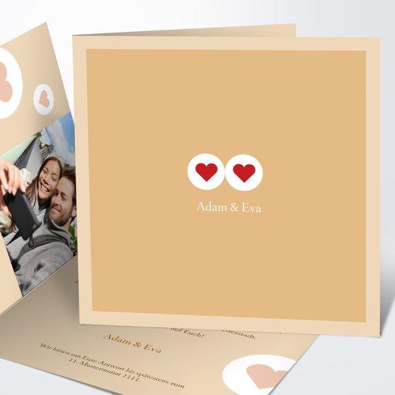 Herzmurmeln - Quadratische Klappkarte 145x145 - Medium Creme