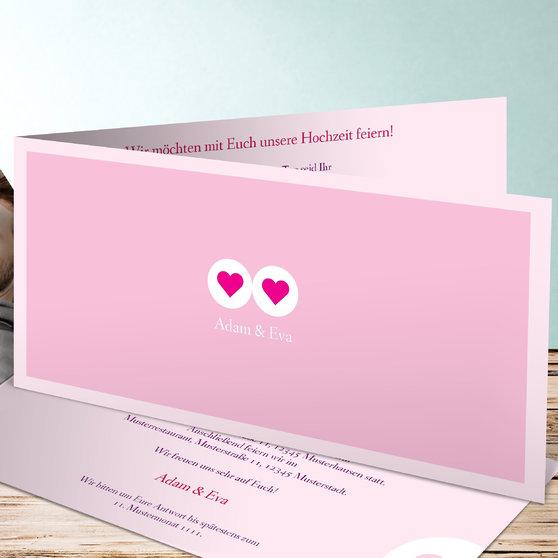 Herzmurmeln - Horizontale Klappkarte 210x100 - Rosen Pink