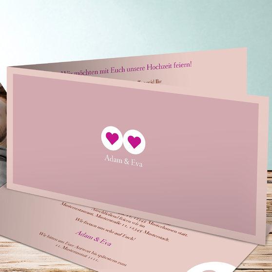 Herzmurmeln - Horizontale Klappkarte 210x100 - Rosa