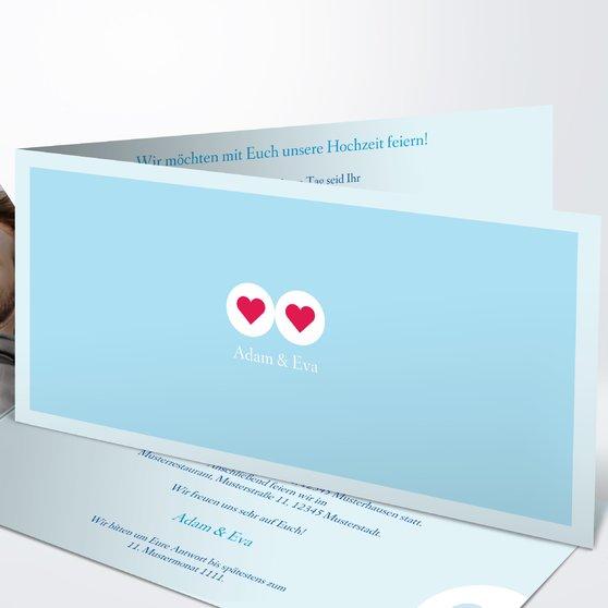 Herzmurmeln - Horizontale Klappkarte 210x100 - Helles Himmelsblau