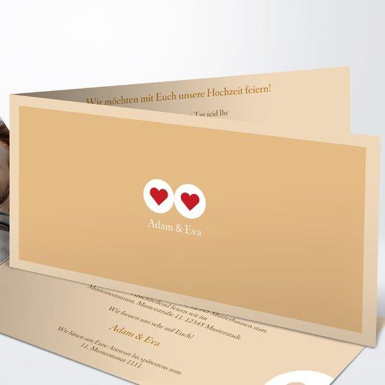 Herzmurmeln - Horizontale Klappkarte 210x100 - Medium Creme