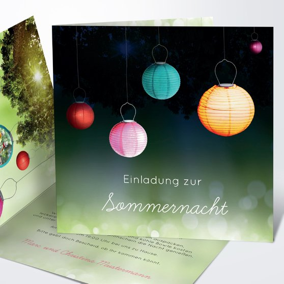 Lampions - Quadratische Klappkarte 145x145 - Grün