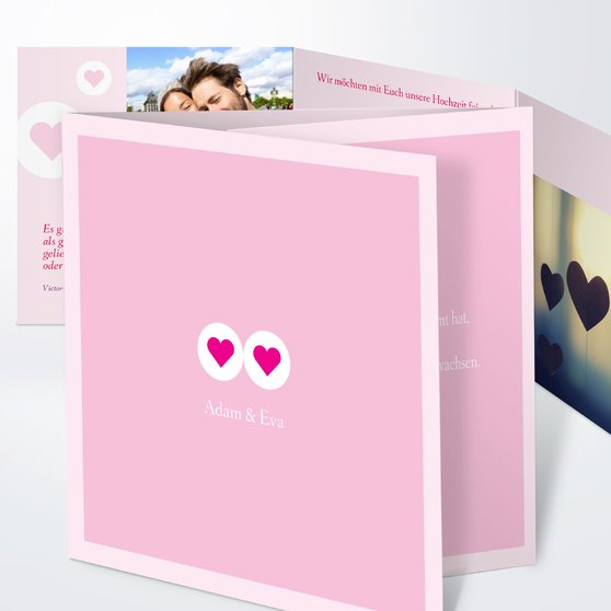 Herzmurmeln - Doppelklappkarte 145x145 - Rosen Pink