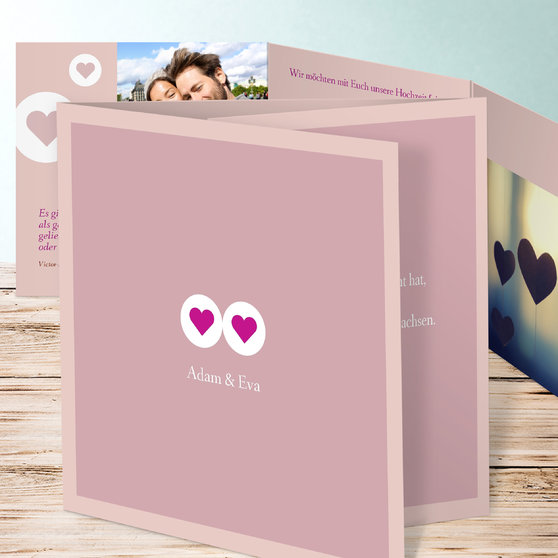 Herzmurmeln - Doppelklappkarte 145x145 - Rosa