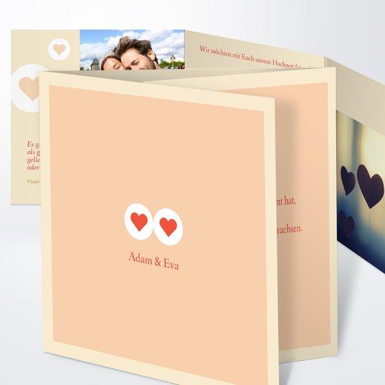 Herzmurmeln - Doppelklappkarte 145x145 - Hellorange