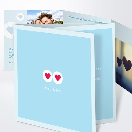 Herzmurmeln - Doppelklappkarte 145x145 - Helles Himmelsblau