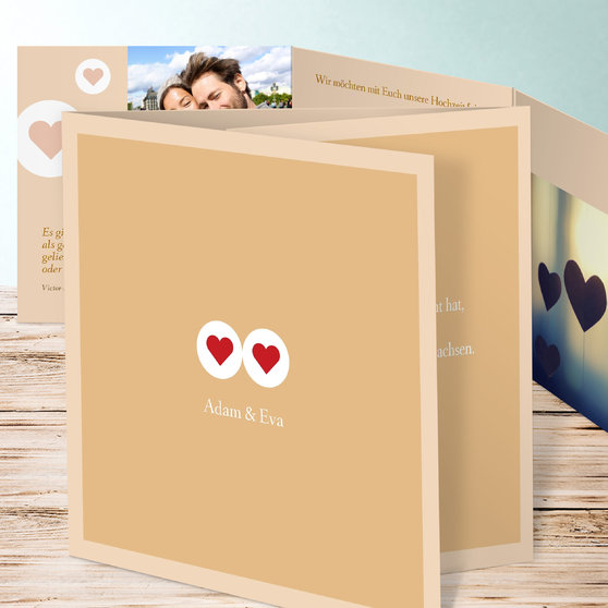 Herzmurmeln - Doppelklappkarte 145x145 - Medium Creme