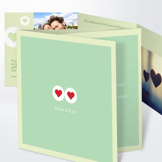 Herzmurmeln - Doppelklappkarte 145x145 - Feines Aquamarin