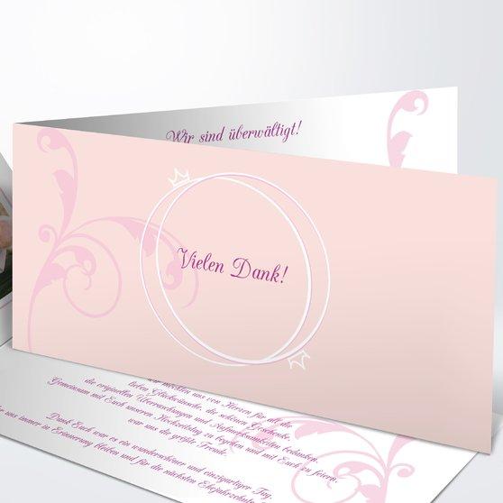 Pastellblüte - Horizontale Klappkarte 210x100 - Rosen Pink