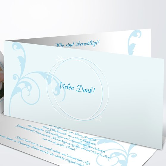 Pastellblüte - Horizontale Klappkarte 210x100 - Puderblau