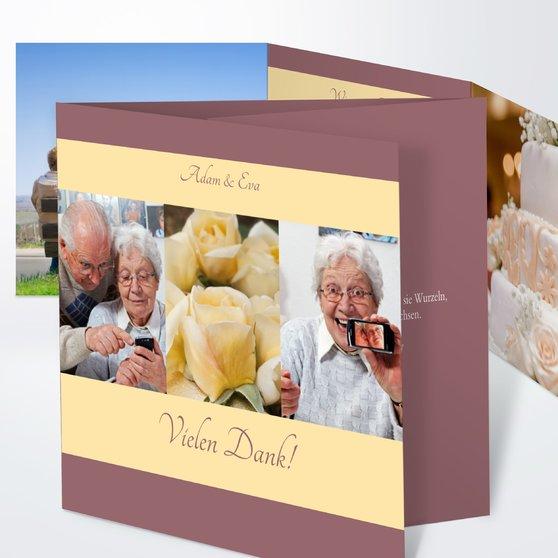Ja, ich will - Doppelklappkarte 145x145 - Zartbordeaux