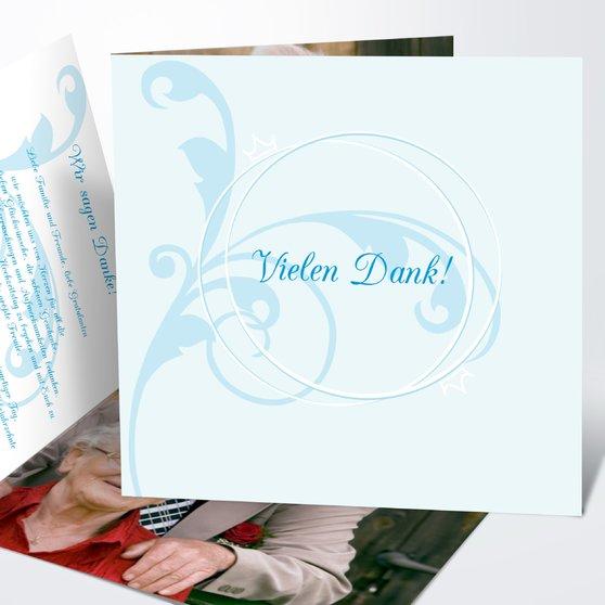 Pastellblüte - Quadratische Klappkarte 145x145 - Puderblau