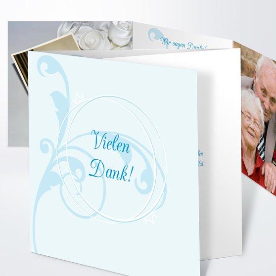 Pastellblüte - Doppelklappkarte 145x145 - Puderblau