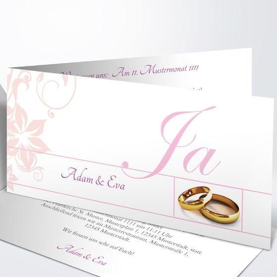 Weiße Hochzeit - Horizontale Klappkarte 210x100 - Rosen Pink
