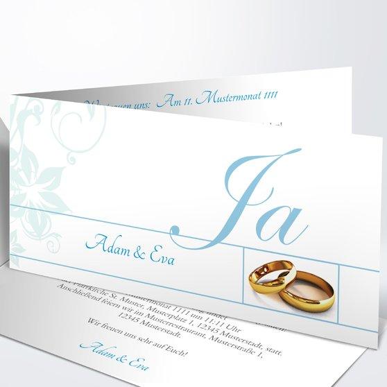 Weiße Hochzeit - Horizontale Klappkarte 210x100 - Puderblau