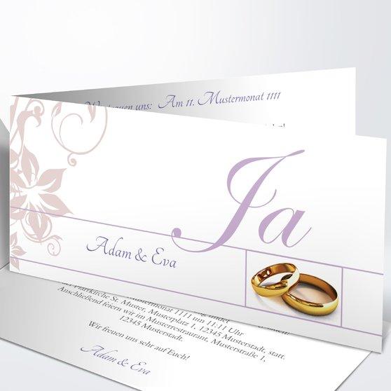 Weiße Hochzeit - Horizontale Klappkarte 210x100 - Lila