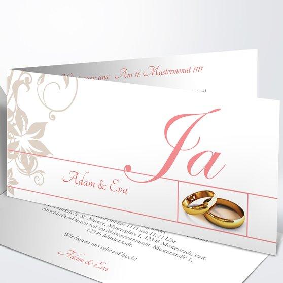 Weiße Hochzeit - Horizontale Klappkarte 210x100 - Koralle