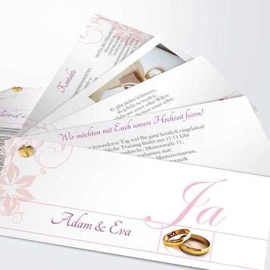 Weiße Hochzeit - Kartenfächer 210x80 - Rosen Pink