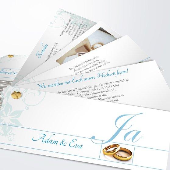 Weiße Hochzeit - Kartenfächer 210x80 - Puderblau