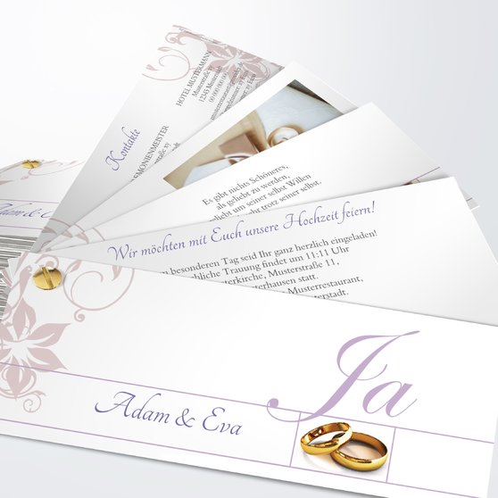 Weiße Hochzeit - Kartenfächer 210x80 - Lila