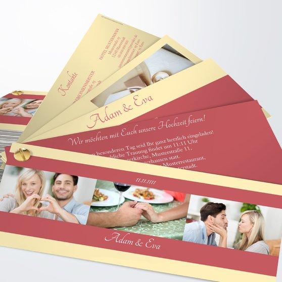 Ja, ich will - Kartenfächer 210x80 - Rot