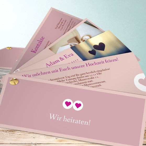 Herzmurmeln - Kartenfächer 210x80 - Rosa