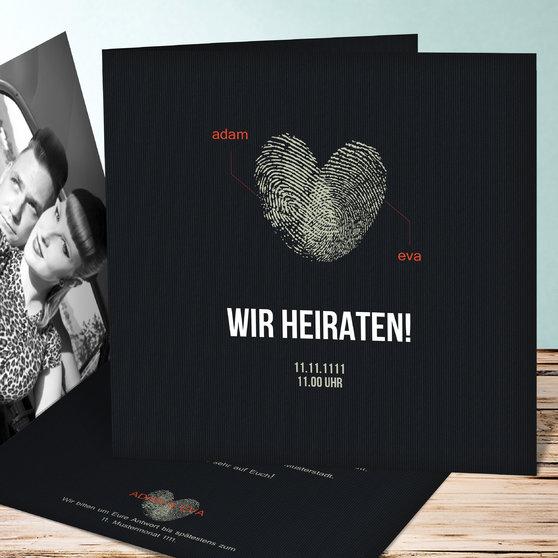Fingerprint - Quadratische Klappkarte 145x145 - Schwarz