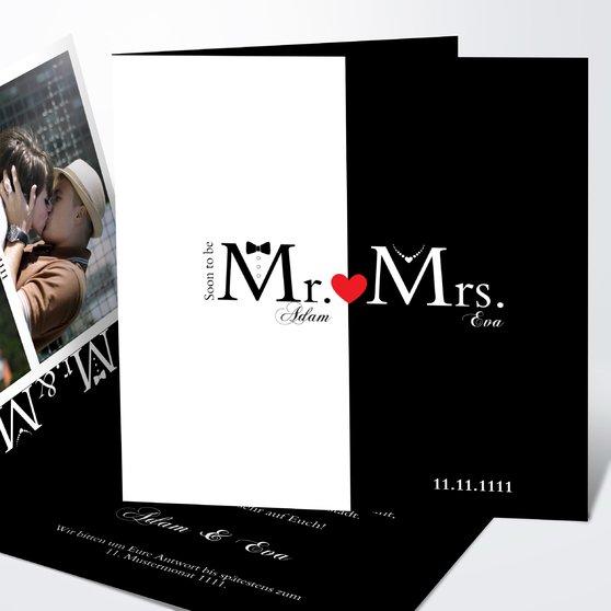 Mr & Mrs - Quadratische Klappkarte 145x145 - Weiß
