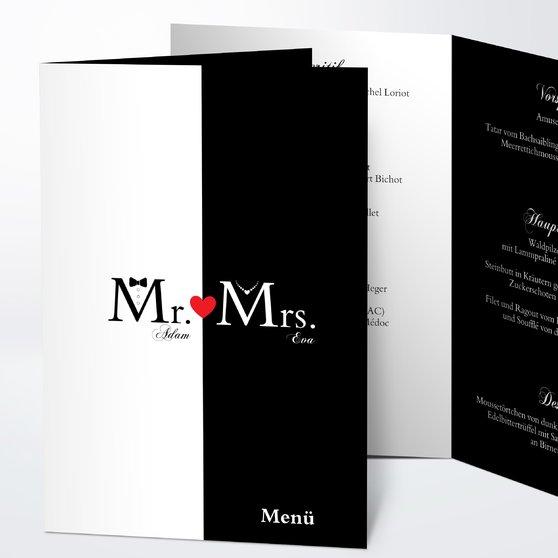 Menükarte Hochzeit - Mr & Mrs