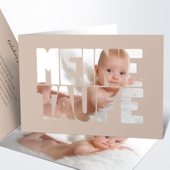 Taufe Fototext - Horizontale Klappkarte 148x105 - Dunkel Bisquite