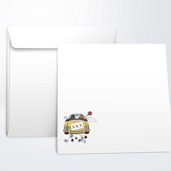 Umschlag mit Design Hochzeit - Fahrt in das Glück