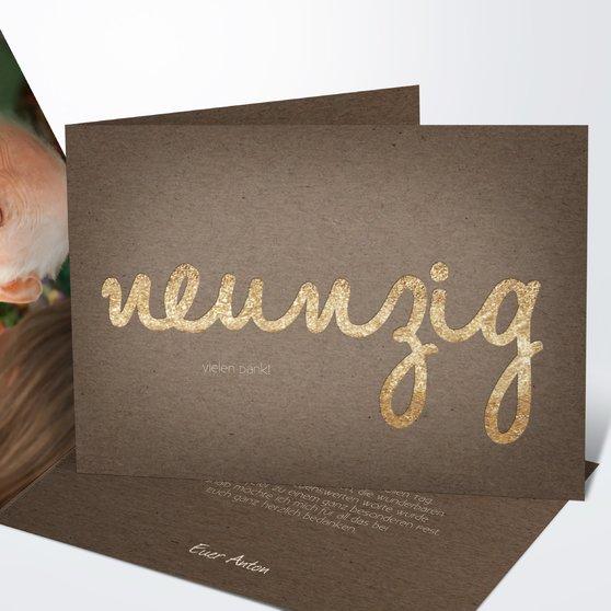 Goldener Tag 90 - Horizontale Klappkarte 148x105 - Braun