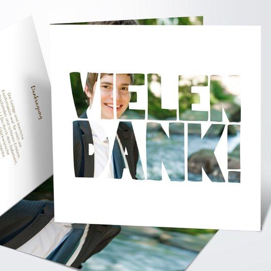 Fototext - Quadratische Klappkarte 145x145 - Weiß