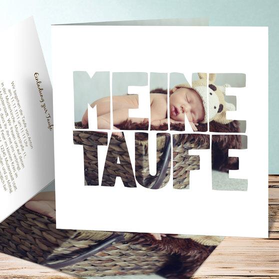 Taufe Fototext - Quadratische Klappkarte 145x145 - Weiß