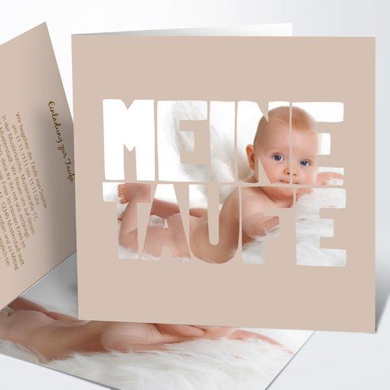 Taufe Fototext - Quadratische Klappkarte 145x145 - Dunkel Bisquite