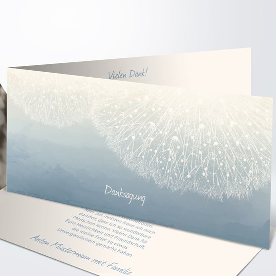 Danksagungen zur Jugendweihe - Löwenzahn mit Foto