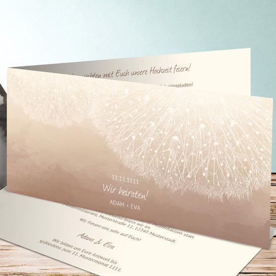 Löwenzahn - Horizontale Klappkarte 210x100 - Dunkel Bisquite