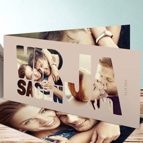 Liebe durch und durch - Horizontale Klappkarte 210x100 - Dunkel Bisquite