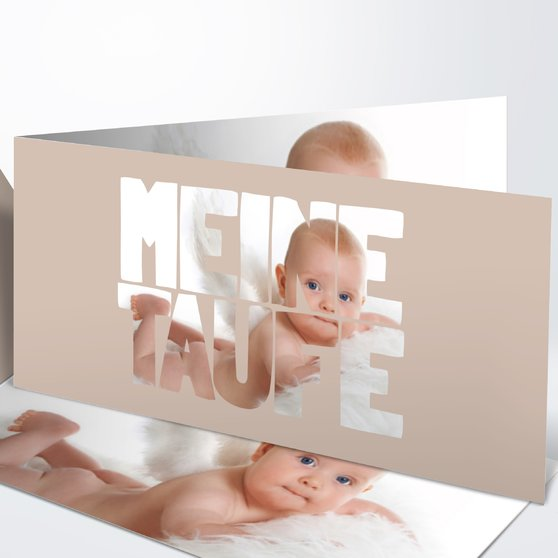 Taufe Fototext - Horizontale Klappkarte 210x100 - Dunkel Bisquite