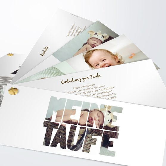 Taufe Fototext - Kartenfächer 210x80 - Weiß