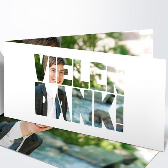 Fototext - Horizontale Klappkarte 210x100 - Weiß